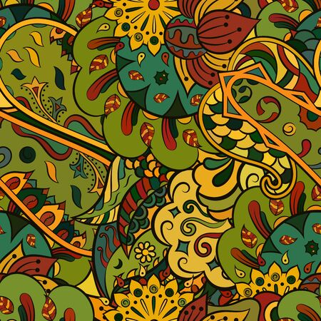 Modèle sans couture d'entrelacs. Conception de Mehndi. Texture ethnique de griffonnage coloré. Fond de griffonnage incurvé. Vecteur Vecteurs
