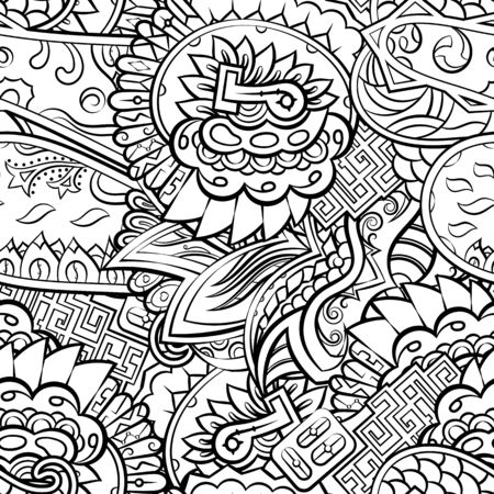 Tracery seamless pattern. Mehndi design. Ethnic monochrome binary doodle texture. Curved doodling black and white background. Vector Çizim
