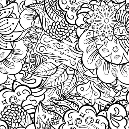 Tracery seamless pattern. Mehndi design. Ethnic monochrome binary doodle texture. Curved doodling black and white background. Vector 向量圖像