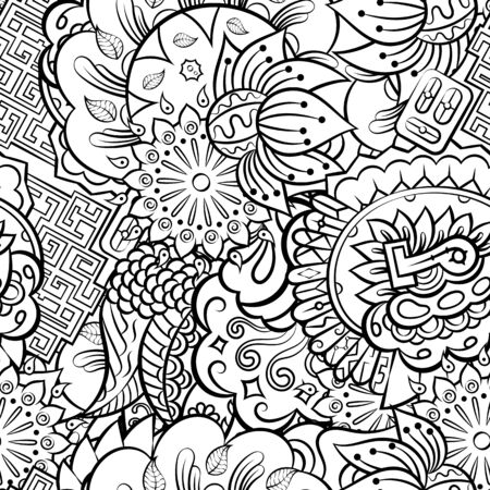 Tracery seamless pattern. Mehndi design. Ethnic monochrome binary doodle texture. Curved doodling black and white background. Vector  イラスト・ベクター素材