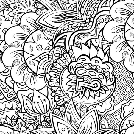 Tracery seamless pattern. Mehndi design. Ethnic monochrome binary doodle texture. Curved doodling black and white background. Vector Illustration