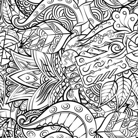Tracery seamless pattern. Mehndi design. Ethnic monochrome binary doodle texture. Curved doodling black and white background. Vector Ilustração