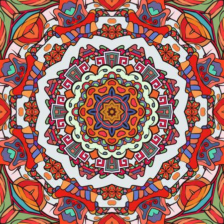 Seamless tracery tile mehndi design. Ethnic ornament, colorful doodle symmetry texture. Folk traditional spiritual tribal design. Curved doodling motif. Color art. Vector Ilustración de vector