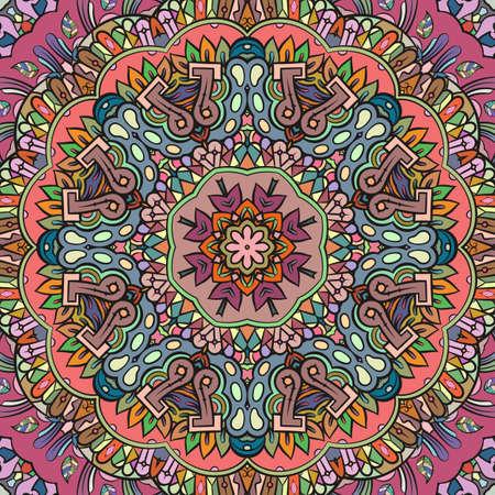Seamless tracery tile mehndi design. Ethnic ornament, colorful doodle symmetry texture. Folk traditional spiritual tribal design. Curved doodling motif. Color art. Vector Vector Illustration