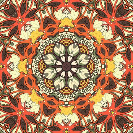 Seamless tracery tile mehndi design. Ethnic ornament, colorful doodle symmetry texture. Folk traditional spiritual tribal design. Curved doodling motif. Color art. Vector Vektorové ilustrace