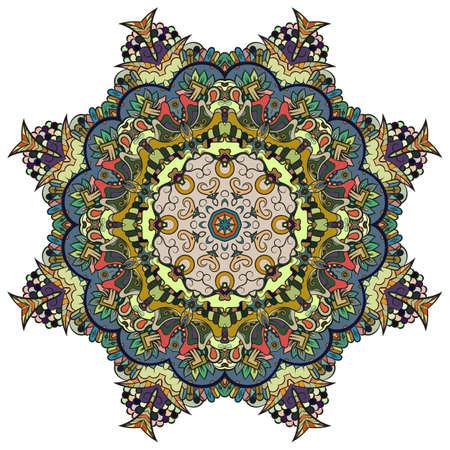 Mandala, tracery wheel mehndi design. Ethnic ornament, colorful doodle symmetry texture. Folk traditional spiritual tribal design. Curved shape, isolated on white. Color art. Vector Vektorové ilustrace