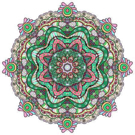Mandala, tracery wheel mehndi design. Ethnic ornament, colorful doodle symmetry texture. Folk traditional spiritual tribal design. Curved shape, isolated on white. Color art. Vector 矢量图像