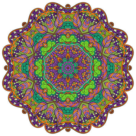Mandala, tracery wheel mehndi design. Ethnic ornament, colorful doodle symmetry texture. Folk traditional spiritual tribal design. Curved shape, isolated on white. Color art. Vector Illustration
