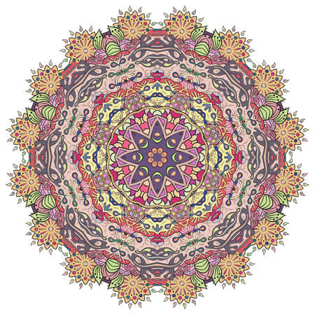 Mandala, tracery wheel mehndi design. Ethnic ornament, colorful doodle symmetry texture. Folk traditional spiritual tribal design. Curved shape, isolated on white. Color art. Vector