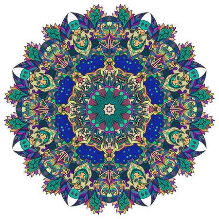 Mandala, tracery wheel mehndi design. Ethnic ornament, colorful doodle symmetry texture. Folk traditional spiritual tribal design. Curved shape, isolated on white. Color art. Vector 일러스트
