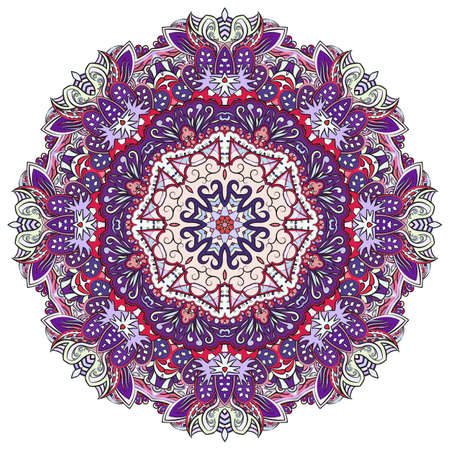 Mandala, tracery wheel mehndi design. Ethnic ornament, colorful doodle symmetry texture. Folk traditional spiritual tribal design. Curved shape, isolated on white. Color art. Vector Stock fotó - 157193609