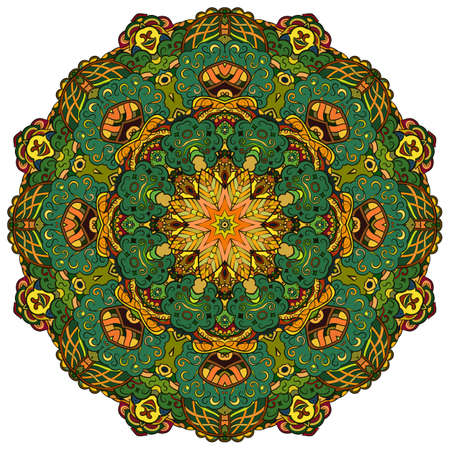 Mandala, tracery wheel mehndi design. Ethnic ornament, colorful doodle symmetry texture. Folk traditional spiritual tribal design. Curved shape, isolated on white. Color art. Vector Vector Illustration
