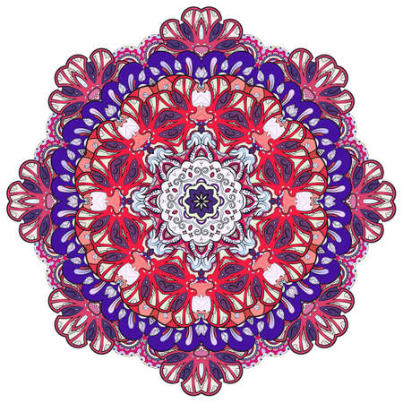 Mandala, tracery wheel mehndi design. Ethnic ornament, colorful doodle symmetry texture. Folk traditional spiritual tribal design. Curved shape, isolated on white. Color art. Vector Ilustração