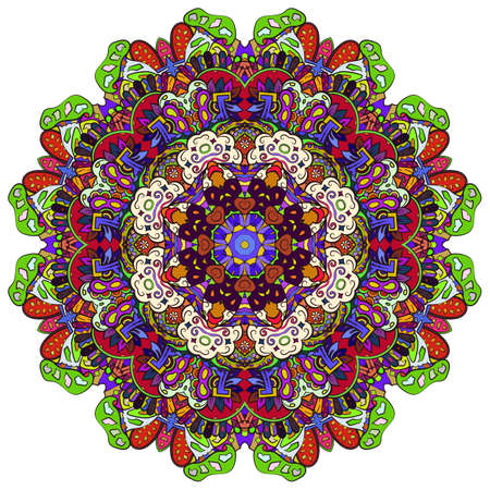 Mandala, tracery wheel mehndi design. Ethnic ornament, colorful doodle symmetry texture. Folk traditional spiritual tribal design. Curved shape, isolated on white. Color art. Vector Stock fotó - 157310267