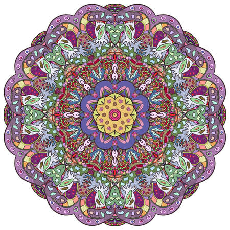 Mandala, tracery wheel mehndi design. Ethnic ornament, colorful doodle symmetry texture. Folk traditional spiritual tribal design. Curved shape, isolated on white. Color art. Vector Illusztráció