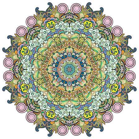 Mandala, tracery wheel mehndi design. Ethnic ornament, colorful doodle symmetry texture. Folk traditional spiritual tribal design. Curved shape, isolated on white. Color art. Vector Stock fotó - 157310379