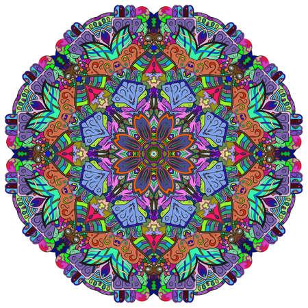 Mandala, tracery wheel mehndi design. Ethnic ornament, colorful doodle symmetry texture. Folk traditional spiritual tribal design. Curved shape, isolated on white. Color art. Vector Stock fotó - 157310382