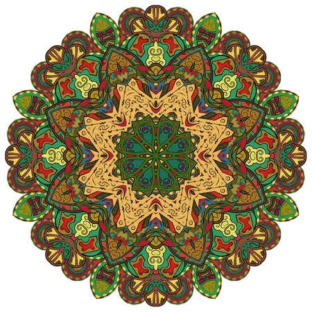 Mandala, tracery wheel mehndi design. Ethnic ornament, colorful doodle symmetry texture. Folk traditional spiritual tribal design. Curved shape, isolated on white. Color art. Vector Banco de Imagens - 157362250