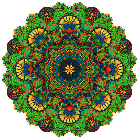 Mandala, tracery wheel mehndi design. Ethnic ornament, colorful doodle symmetry texture. Folk traditional spiritual tribal design. Curved shape, isolated on white. Color art. Vector 向量圖像