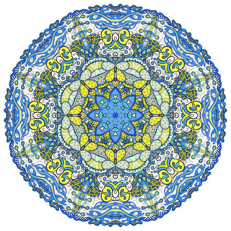 Mandala, tracery wheel mehndi design. Ethnic ornament, colorful doodle symmetry texture. Folk traditional spiritual tribal design. Curved shape, isolated on white. Color art. Vector Stock fotó - 157362332