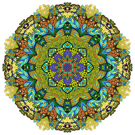 Mandala, tracery wheel mehndi design. Ethnic ornament, colorful doodle symmetry texture. Folk traditional spiritual tribal design. Curved shape, isolated on white. Color art. Vector Banco de Imagens - 157362457