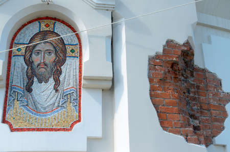 The image of Christ on the wall. Stock Photo