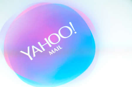 Brest, Belarus - June 28, 2017: Brand name yahoo mail on screen android phone. Editorial
