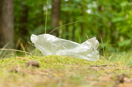 Plastic bottles spoil and pollute the ecological state of nature