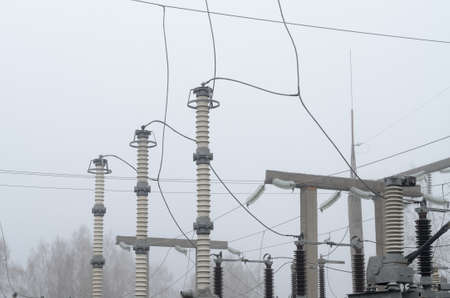 Electrical substation of high voltage with elements of insulating structures Stock Photo