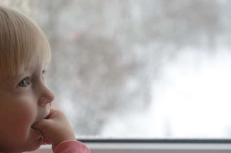 The little girl looks out the window