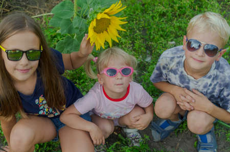 Children under eight years old all together wearing glasses against a background of green grass and yellow sunflower.
