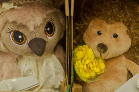 Soft toys hedgehog and owl gift for children and adults. Stock Photo