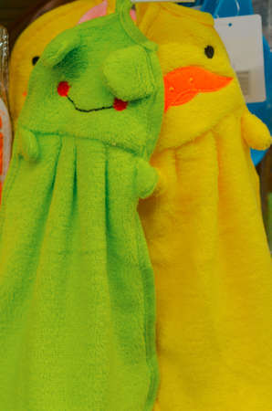 Two textile bright green and yellow things Stock Photo