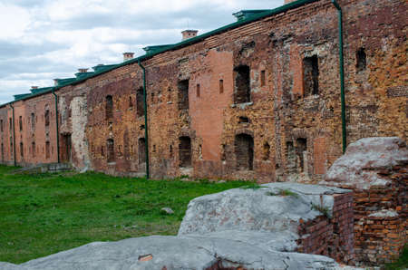 The ruins of the Brest fortress as a reminder of the past war.