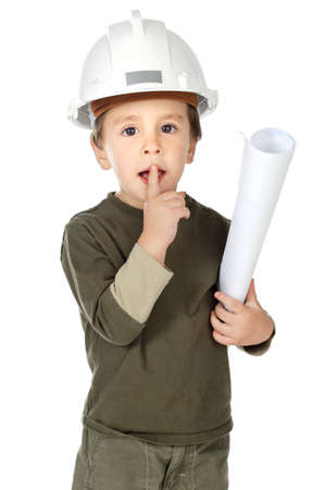 photo of an adorable future architect over a white background photo
