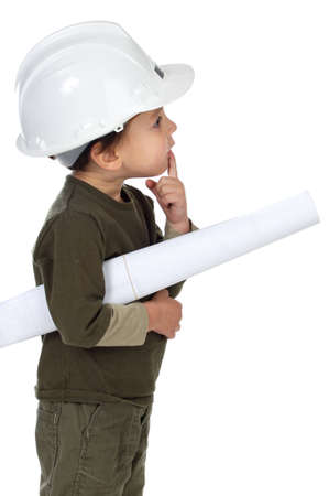 photo of an adorable future architect over a white background