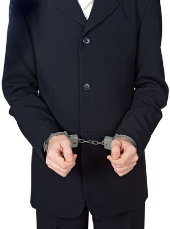 a businessman swindler a over white background Stock Photo