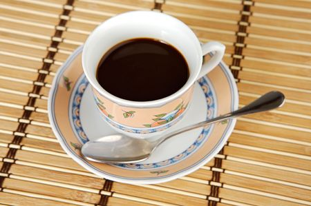 pastes: A photo of a Cup of coffee a over white background Stock Photo