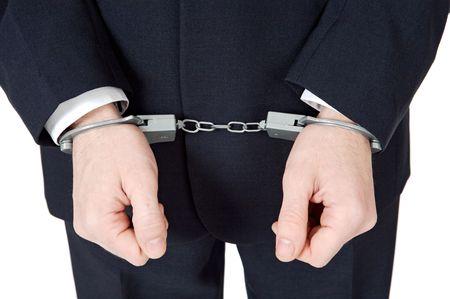 swindler: a businessman swindler a over white background Stock Photo