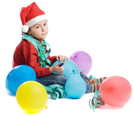 adorable small boy in Christmas a over white background photo