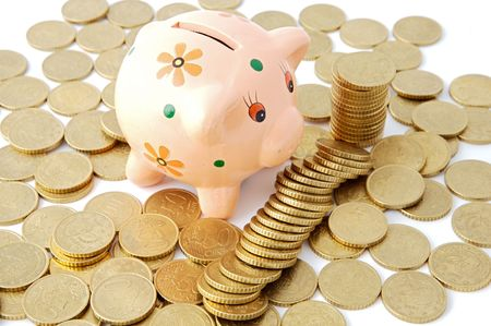 money box: currencies in a money box over white background Stock Photo
