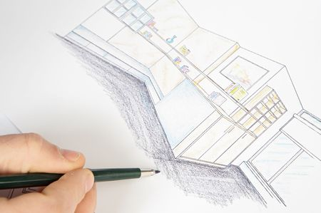 a photo of blue prints home Plans Stock Photo - 701835