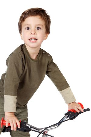 photo of an adorable boy cycling a over white background