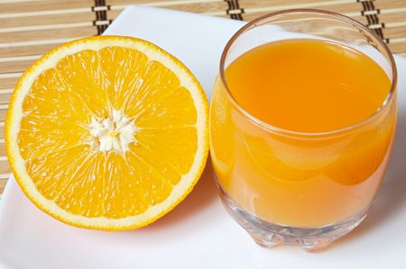An orange juice photo that has been expressed photo