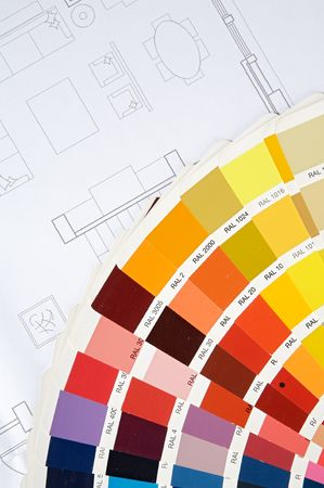 a photo of blue prints home Plans Stock Photo - 703002