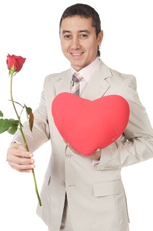 man giving a love gift a over white background photo