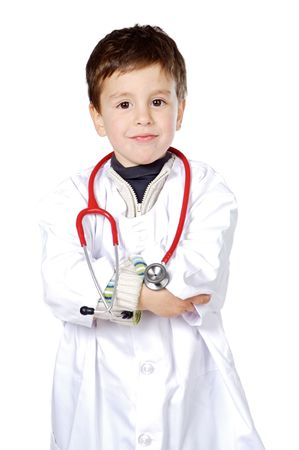 family doctor: Adorable future doctor a over white background