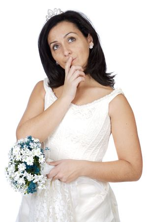 attractive lady thinking if it takes marriage a over white background photo