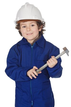 designer baby: Adorable boy dressed worker in a hammer and a helmet a over white background