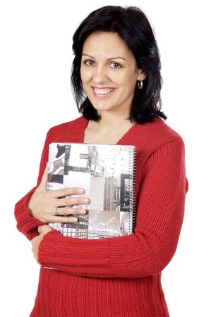 Attractive lady loving a book a over white background Stock Photo - 726888